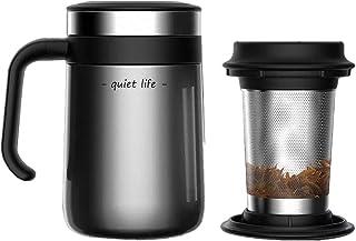 Taza de té de acero inoxidable aislada con infusor y tapa para té suelto, 16 onzas
