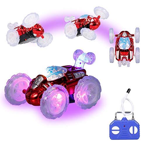 KKmoon Carro de acrobacias de controle remoto brinquedo de carro RC com luzes LED piscando 360 ° para crianças meninos meninas