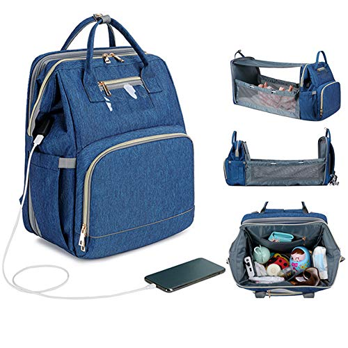 3 In 1 Travel Bassinet Foldable Baby Bed, Portable Diaper Changing Station Mummy Bag Backpack Crib, Baby Nest With Mattress, With Shade Cloth, External USB Socket,Blue