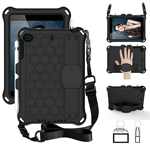 SsHhUu iPad Mini 5 Case for Kids, Shockproof Light Weight Kids Friendly Protective Cover with Pencil Holder, Stand, Shoulder Strap, Hand Strap for iPad Mini 5/4/3/2/1 7.9 Inch - Black/Black