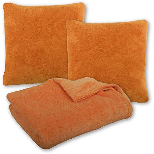 Bestlivings Kuscheldecke Tagesdecke Wohndecke mit Kissen in vielen Farben 250x280cm + 2X Kissenbezug Kissen 60x60cm (orange - apricot ohne Kissenfüllung)