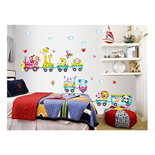 Cuenta con adhesivo en la pared de las habitaciones de la etiqueta engomada/de la pared de tatuajes de/Stickers/pared/de la pared de pegatinas de vinilo para niños/niños pequeños para dormitorio/cuarto de los niños con diseño de animales de la suerte en vagones de tren de diseños de colour Velen coloures de VAGA