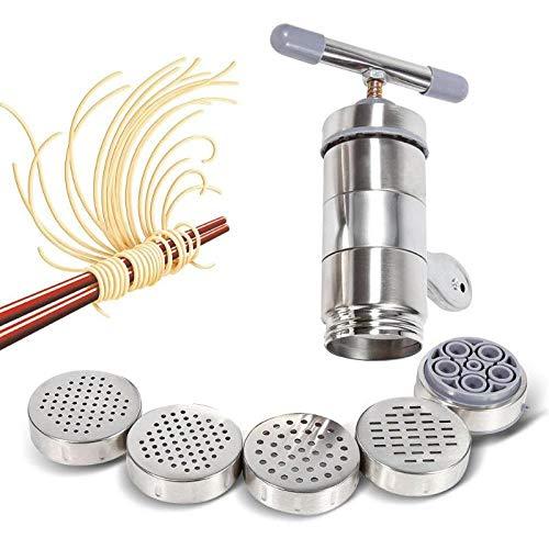 NIUPAN Handmatige pastamachine met 5-vormige kop, roestvrijstalen pastamatrijs, keukenmachine voor thuisrestaurants