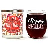 Cedar Crate Market Juego de Regalo de cumpleaños Cute Stemless 15 oz. Vaso de Vino, Aroma de Lujo, 10 onzas Vela de Soja | Huckleberry, limón, Vainilla día de la Madre
