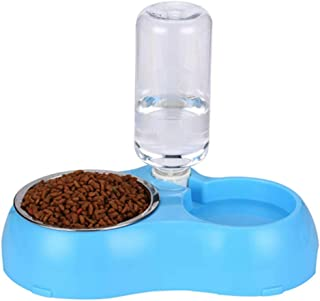 Dogs and cats are automatically drinking water to feed double bowls pet rice bowls