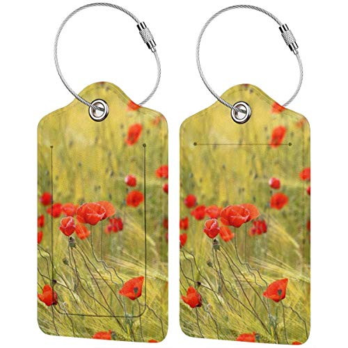 Poppy Flowers Personalized Leather Luxury Suitcase Tag Set Travel Accessories Luggage Tags