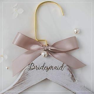 Moreyes Bride and Groom Wedding Custom Clothes Hanger White Solid Wood Engraving Logo Wedding Dress DIY (Color : 4, Size :...