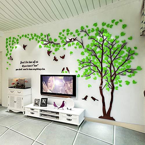 Wandtattoo Wandaufkleber Blumen 3d Baum Acryl Spiegel Abziehbilder Diy Art Tv Hintergrund Wall Poster Home Decoration Schlafzimmer Wohnzimmer Wandsticker Hellgrün RECHTS XL etwa 4x2m