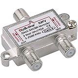 SAT & BK-Verteiler - 2-Fach Splitter - voll geschirmt - Unicable & HD tauglich [DUR-line D2FV - für Satelliten-Anlagen(DVB-S2) - BK - UKW Radio - DC-Durchlass - TV Antennen Fernseh Verteiler]