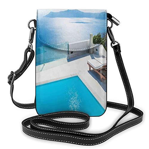 Women Mini Purse Crossbody of Cell Phone,Architecture On Santorini Island Greece Swimming Pool Blue White Hotel Sea View