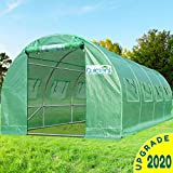 Quictent Upgraded 20'x10'x7' Portable Greenhouse 2 Doors 7 Crossbars Large Walk-in Heavy Duty Green Gardening Plant Hot Outdoor House +14 Stakes 4 Ropes