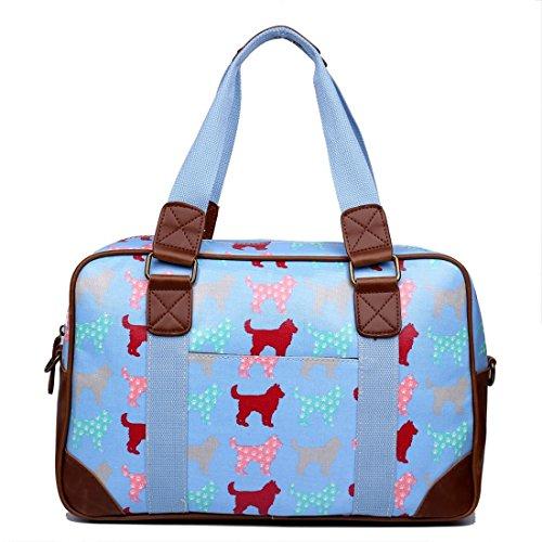 Miss Lulu Handtasche, Schultertasche, Damen, Eule, Schmetterling, Blumen, gepunktet, Wachstuch. Zum Reisen, über Nacht, Wochenende, Schultasche Gr. Large, Dog Light Blue
