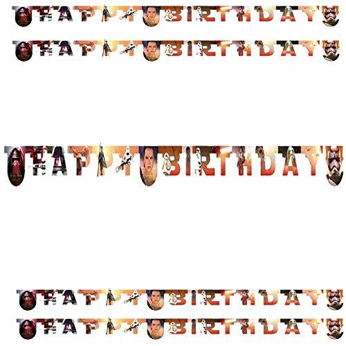 Procos Happy-Birthday Banner * Stars Wars * für Einen Kindergeburtstag // Kinder Geburtstag Party Paper Letter Banner Alien Krieg der Sterne Darth Vader