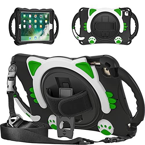 Tablet PC Bolsas Bandolera Funda para niños de silicona para iPad Mini1 / 2/3/4/5, mango a prueba de golpes Amigable para niños Estuche para niños con correa de hombro / Soporte giratorio de 360 ° C