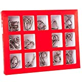 Holzsammlung Metal Wire Puzzle Ring Brain Teaser Classical Intellectual Puzzles Game Magic Trick Toy Gift for Kids Students Adults Challenge - IQ Test Disentanglement Set of 15 #12