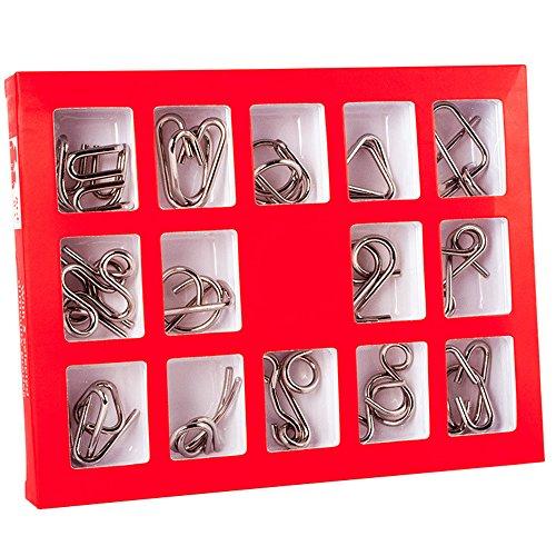 Holzsammlung Rompecabezas de Metal, 15 Piezas 3D Classic Puzzles Educativo Habilidad Logica Alambre de Mente Juego de Prueba de Inteligencia Juguetes Cumpleaños Navidad Regalo para Adultos Niños #9