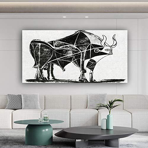 Cuadro En Lienzo Imprimir Lienzo Arte Toro Picasso Óleo Reproducción Animal 60x80cm Cartel Imprimir imágenes Inicio Decoración de Pared