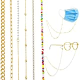 17 MILE 6 PCS Face Mask Chain Holder Glasses Chain Lanyard for Women Girls Gold/Silver Hanging Chain Link Necklace Eyeglass Chains Set Anti-Lost Around Neck