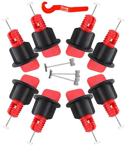 ASFINS Fliesen Nivelliersystem Kits, 50 Sätze Fliesen Nivellier System, Fliesennivellierungssystem, mit 1 Spezialschlüssel, Wiederverwendbar für den Bau von Wänden Böden (mit 100 Ersatznadeln)