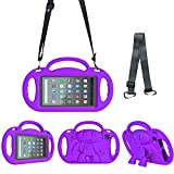 Surom Kids Case for All New Amazon Fire 7 2019/2017, Light Weight Shock Proof Friendly Handle Kids Stand with Shoulder Strap for Fire 7 Tablet (9th & 7th Generation, 2019 & 2017 Release), Purple