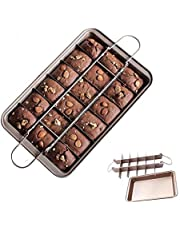 Flawsome's Brownie Pan, Non-Stick Baking Pans with Built-in Slicer, Perfect Crispy Edges, 18 Pre-Slice, Dual Use, Carbon Steel Bakeware, Dishwasher Safe, Rose Gold.