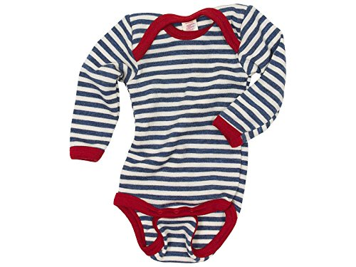 Baby Body langarm, Wolle maschinenw., Engel Natur, Blau Melange/Natur, Gr. 110/116