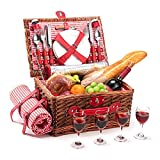 Wicker Picnic Basket Set for 4 Persons with Large Insulated Cooler Bag and Waterproof Picnic Blanket, Willow Picnic Hamper for Family, Outdoor, Camping, Party(Red