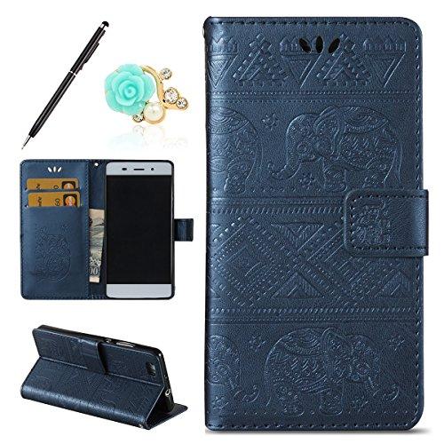 Uposao Kompatibel mit Huawei P8 Lite 2016 Handyhülle Mandala Elefant Muster Leder Schutzhülle im Bookstyle Handytasche Flip Hülle Cover Retro Ledertasche Lederhülle Klapphülle,dunkelblau