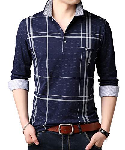 ポロシャツ メンズ 長袖 カジュアル おしゃれ コットン ゴルフウエア トップス 大きいサイズ L ネイビー
