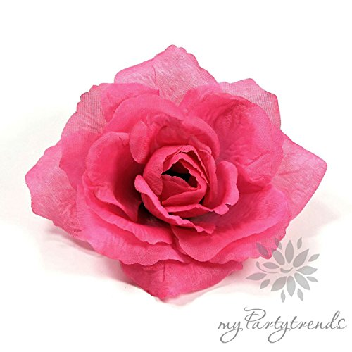 myPartytrends Ansteckrose, Haarrose in pink-telemagenta; Modell 'Französische Rose' (Ø 11 cm; Höhe 5 cm) (Ansteckrose, Haarblume mit Schnabelspange, Haarschmuck, Seidenrose, Seidenblume)