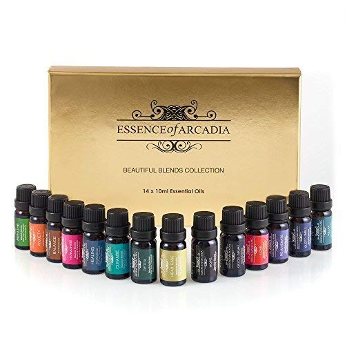Set of Top 14 Aromatherapy essential oil blends (10ml each) - 100% Therapeutic grade oil (comes with a downloadable recipe book)