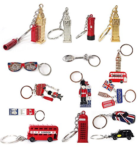 10 x British Key Tags Mini London Icon Keyrings Gift...