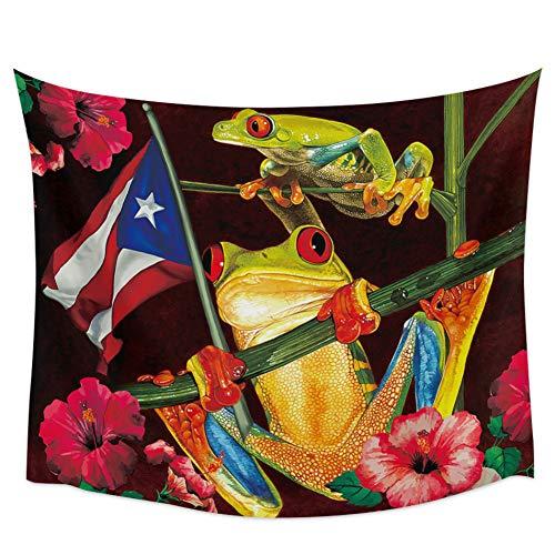 N / A Dekorativer Wandteppich Hibiskus-Stamm Puerto Rico Frosch Wandteppich Wandbehang Mandala Große Wandteppiche Wandtuch Psychedelische Yogamatte Boho Dekor Für Raumdekoration 51x59 inch