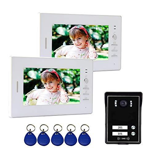 """Nudito Kit Videoportero para 2 Viviendas. Sistema del Interfono (2 Monitores TFT LCD a Color de 7"""", 1 Cámara Infrarroja Exterior e Impermeable con Visión Nocturna. Desbloqueo con Tarjetas RFID)"""