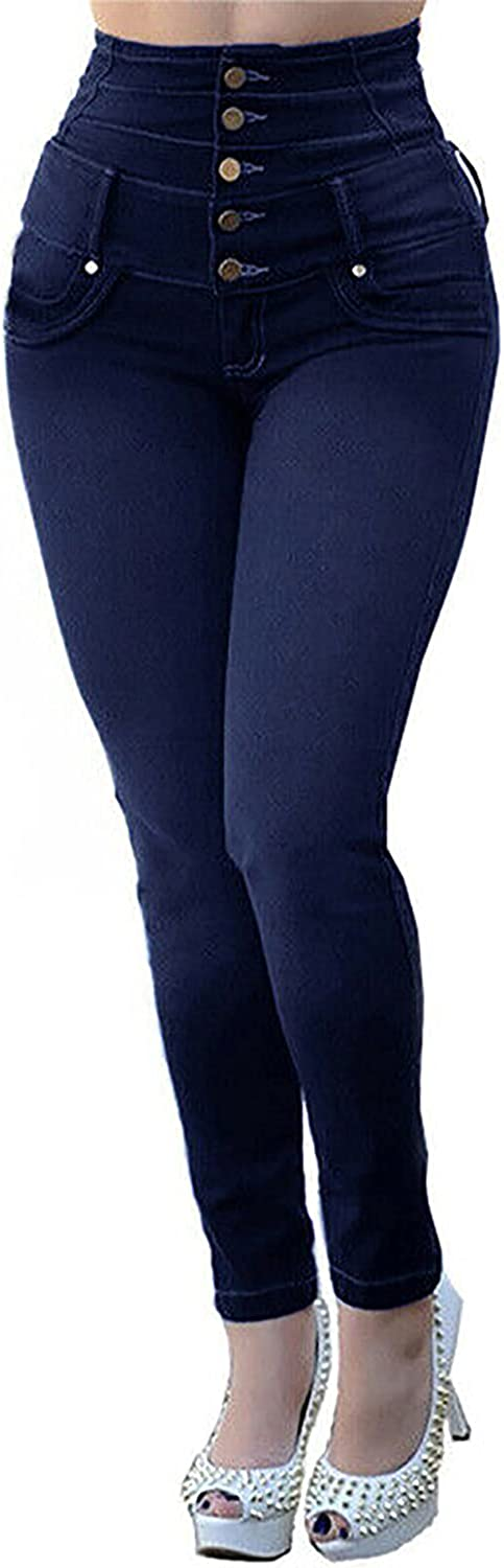 MINEEE Women Classic High Waisted Butt-Lifting Stretchy Skinny Jeans Denim Pants Plus Size
