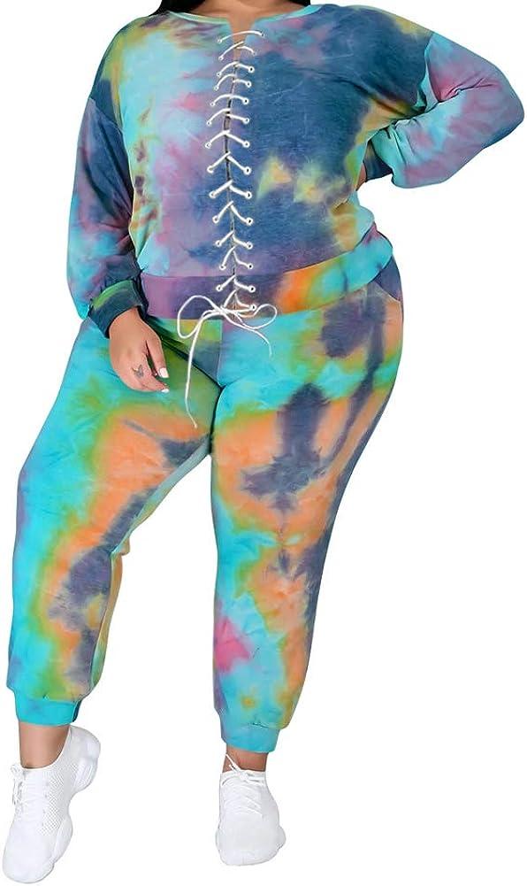 Popular standard acelen Women Plus Popular product Size 2 Pieces Jogging Long Slee Suit Tie - Dye