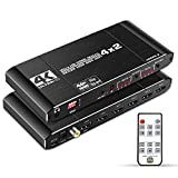 NEWCARE 4K@60Hz 4x2 HDMI Audio Extractor Matrix Switch Splitter, with Optical Toslink SPDIF+Coaxial+3.5mm Audio Out+IR Remote, Supports HDCP2.2 HDMI2.0, Ultra HD, 3D, ARC, EDID, HDR for PS5 Xbox