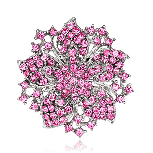 BJINUIY Pin de Solapa Insignia Abrigo Traje Broche, aleación de Planta de Flor Rosa con Incrustaciones de Diamantes Artificiales...