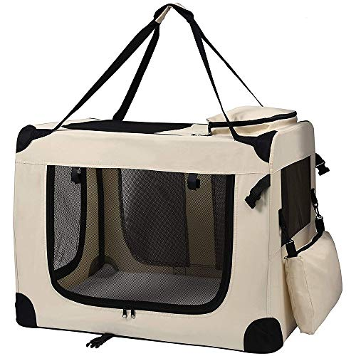 Petigi Transporttasche Faltbare Transportbox Hund Faltbox Hundetransportbox Katze Auto Beige XL
