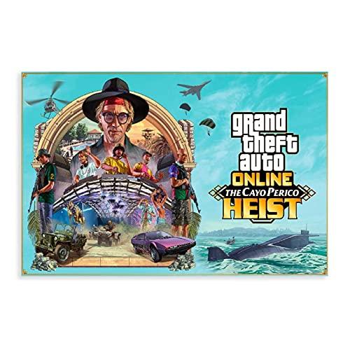Grand Theft Auto V Game Poster GTA 5 Online The Cayo Perico Heist Leinwand Poster Wandkunst Dekor Druck Bild Gemälde für Wohnzimmer Schlafzimmer Dekoration ungerahmter Stil 20 × 30 cm