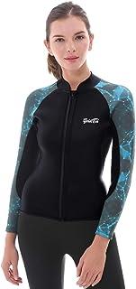 GoldFin Women's Wetsuit Top, 2mm Neoprene Wetsuit Jacket Long Sleeve Front Zip Wetsuit Shirt for Diving Snorkeling Surfing...