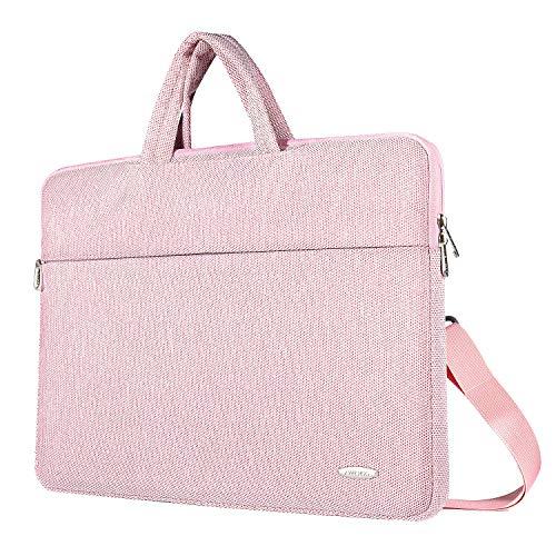 ZWOOS 15,6 Zoll Laptop Tasche Wasserdicht Laptoptasche Schultertaschen, Business Aktentasche Umhängetasche für MacBook/Lenovo/HP/Acer Swift 1/Acer/Asus/Apple (Pink)