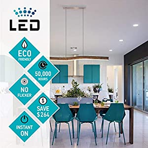 LUXTER (12 Pack) 4 inch Ultra-Thin Round LED Recessed Panel Light with Junction Box, Dimmable, IC Rated, 12W (60 Watt Repl.) 4000K Bright Light 900 Lm. No Can Needed ETL & Energy Star Listed