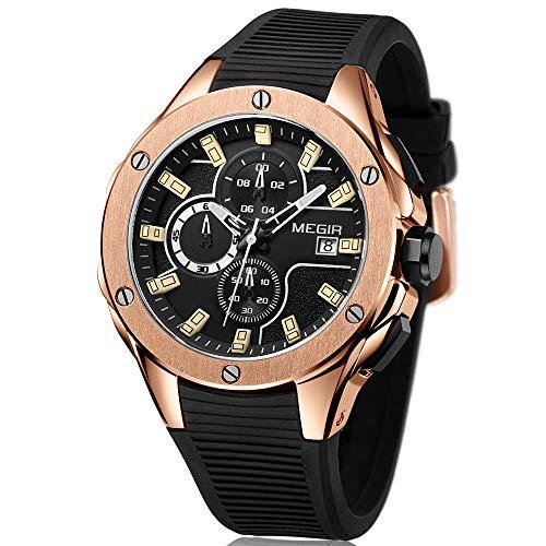 Megir Herren Uhren Rose Gold Sport Leuchtend Armbanduhr mit Schwarz Silikon Armband Groß Chronograph Kalender Wasserdicht