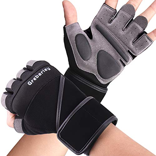 Grebarley Fitness Gloves Levantamiento de Pesas, protección Total de la Palma, Transpirable, Guantes de Entrenamiento para Hombres y Mujeres (Negro, M) ✅