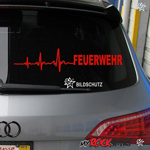 myrockshirt Herzschlag Aufkleber Feuerwehr ca. 30x7 cm Scheibe Sticker Lack Tuning Windschutzscheibe