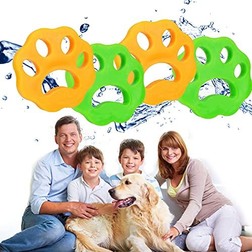 GUBOOM Bolas Atrapa Pelos Lavadora, 4 Piezas Bola De Limpieza De Ropa, Lavandería Mascota Removedor, Quitapelos Mascotas, Reutilizable e Hipoalergénica, Forma de Pata de Gato(Amarillo +Verde