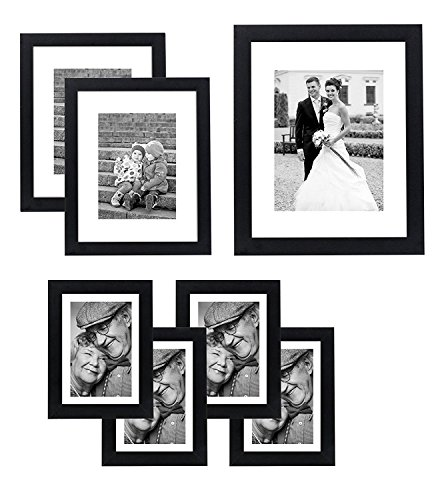 Americanflat 7 Pack Gallery Wall Set, 11x14, 8x10, and 5x7, Black