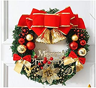 Christmas Party Bow-Knot Christmas Wreath Door Hanging Ornaments Room Christmas Tree Pendants for Decoration(Golden and Red)