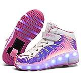 Zapatillas Deportivas LED para Niños Led Luces Zapatos con Ruedas USB Recargable Skate Luminosas Skateboard Sneaker Moda Gimnasia Zapatos de Skateboard Los Mejores Regalos Para Niños Y Niñas Calza